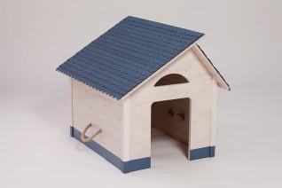 indoor hundeh tte blaues dach mit blauem sockel. Black Bedroom Furniture Sets. Home Design Ideas