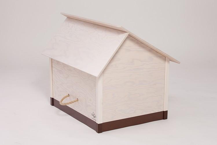 hundeh tte f r innen wei es dach mit braunem sockel. Black Bedroom Furniture Sets. Home Design Ideas